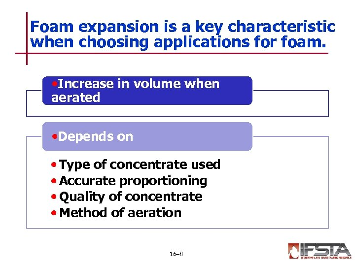 Foam expansion is a key characteristic when choosing applications for foam. • Increase in