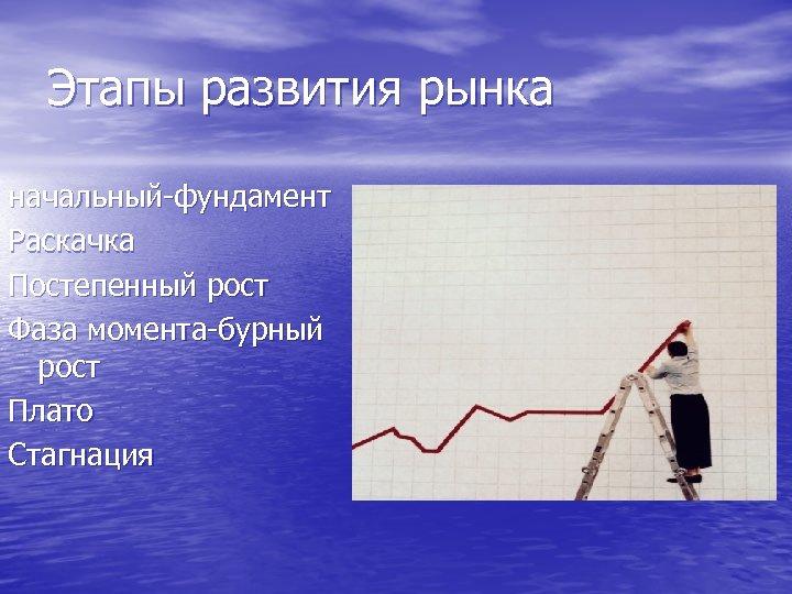 Этапы развития рынка начальный-фундамент Раскачка Постепенный рост Фаза момента-бурный рост Плато Стагнация