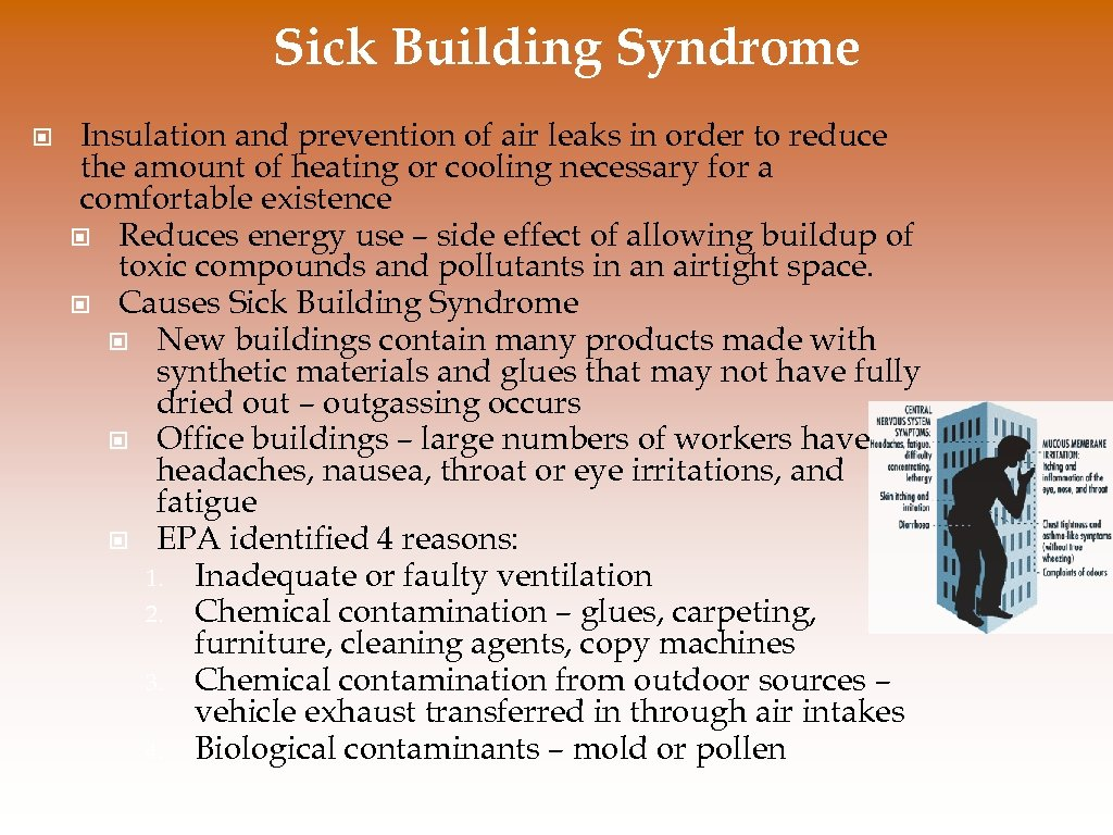 Sick Building Syndrome © Insulation and prevention of air leaks in order to reduce