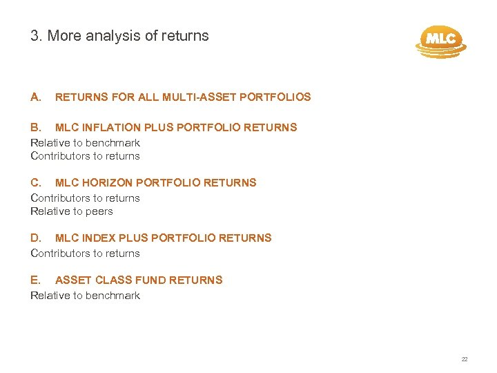 3. More analysis of returns A. RETURNS FOR ALL MULTI-ASSET PORTFOLIOS B. MLC INFLATION