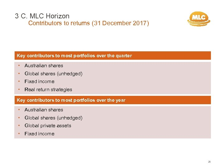 3 C. MLC Horizon Contributors to returns (31 December 2017) Key contributors to most