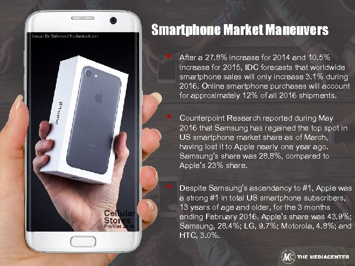 Smartphone Market Maneuvers § After a 27. 8% increase for 2014 and 10. 5%