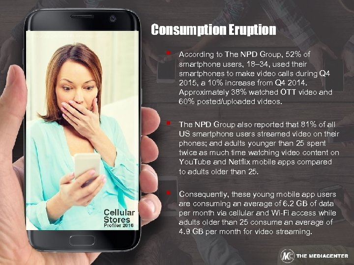 Consumption Eruption § According to The NPD Group, 52% of smartphone users, 18– 34,