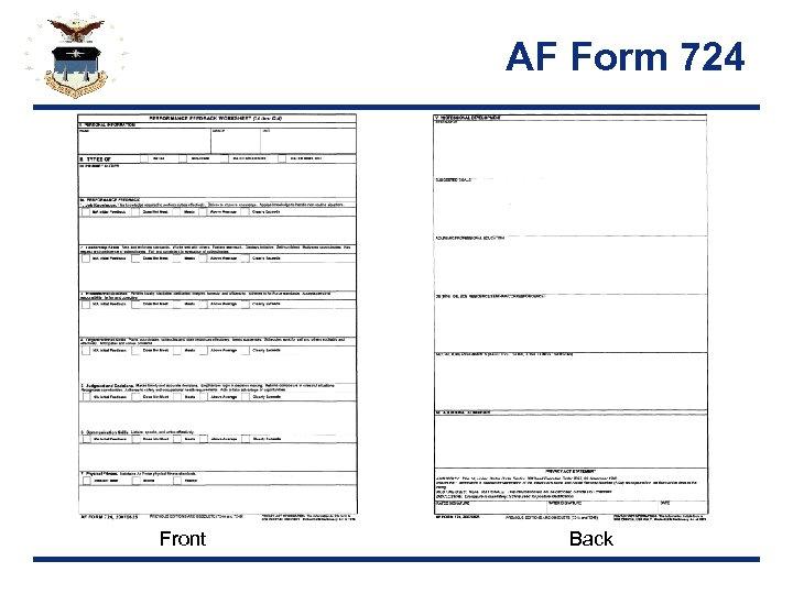 AF Form 724 Front Back