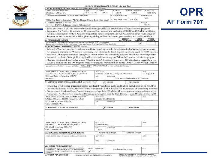 OPR AF Form 707