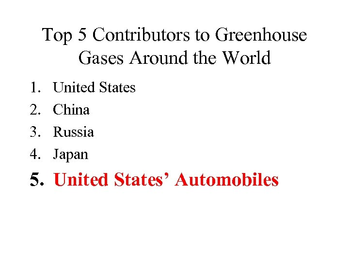Top 5 Contributors to Greenhouse Gases Around the World 1. 2. 3. 4. United