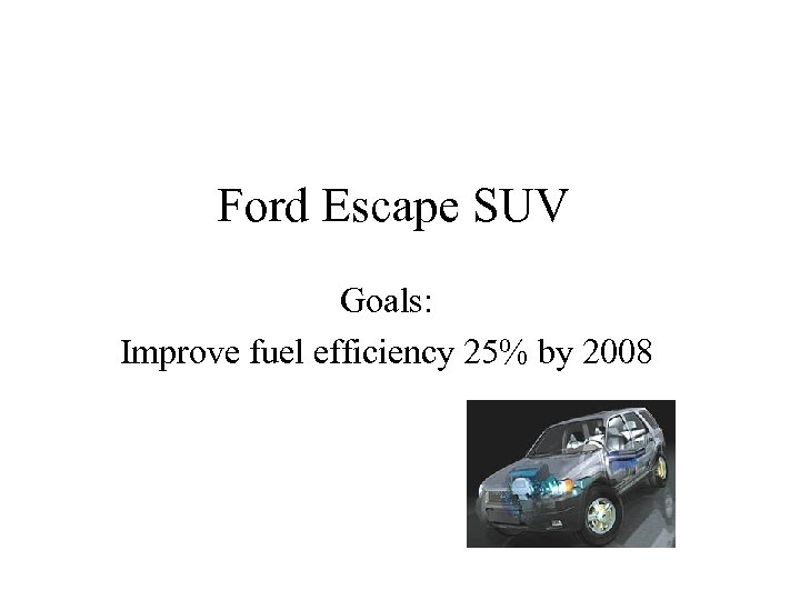 Ford Escape SUV Goals: Improve fuel efficiency 25% by 2008