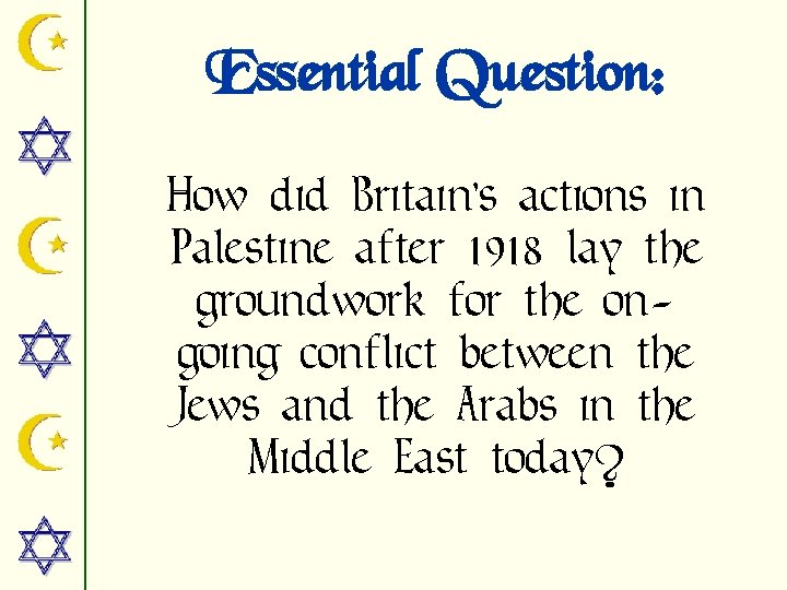 Essential Question: How did Britain's actions in Palestine after 1918 lay the groundwork for