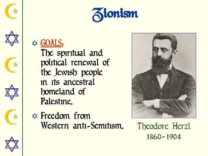 Zionism Y GOALS: The spiritual and political renewal of the Jewish people in its