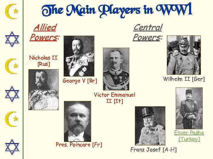 The Main Players in WW 1 Allied Powers: Central Powers: Nicholas II [Rus] Wilhelm
