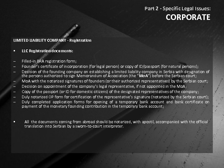 Part 2 - Specific Legal Issues: CORPORATE LIMITED LIABILITY COMPANY - Registration § LLC