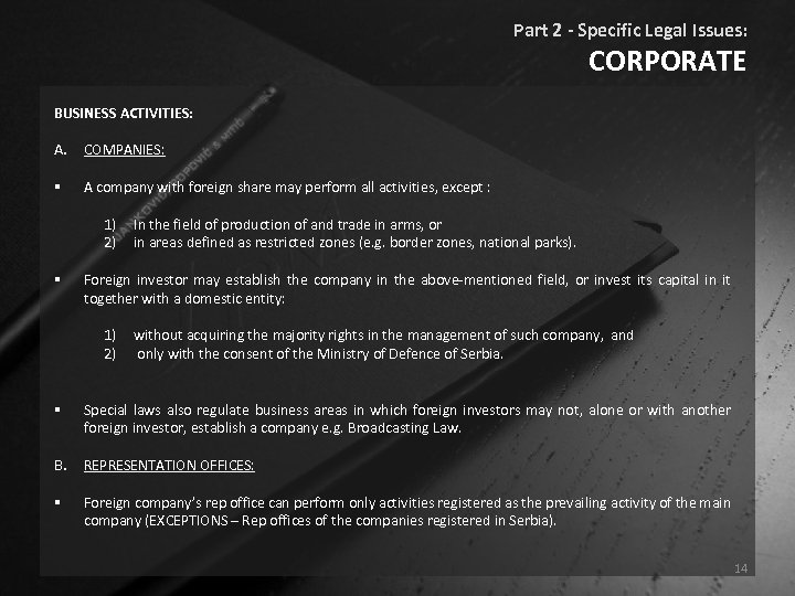Part 2 - Specific Legal Issues: CORPORATE BUSINESS ACTIVITIES: A. COMPANIES: § A company
