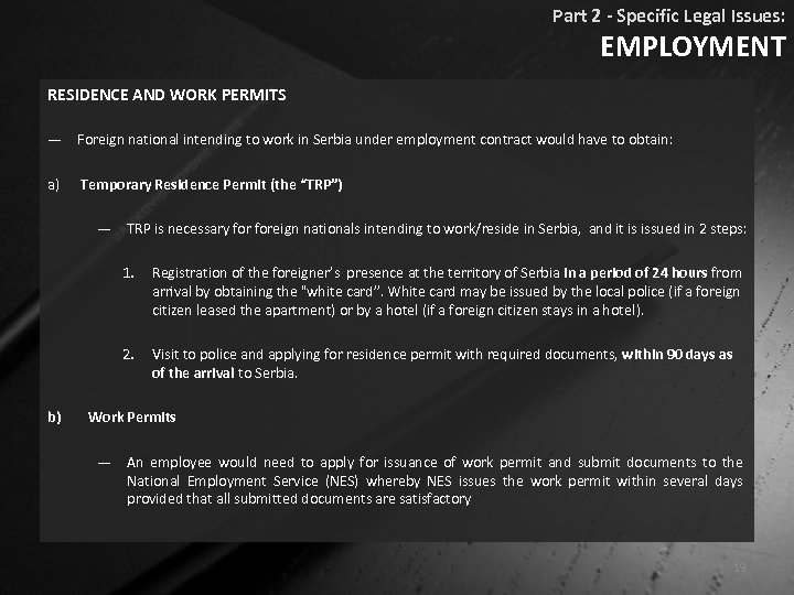 Part 2 - Specific Legal Issues: EMPLOYMENT RESIDENCE AND WORK PERMITS ― Foreign national