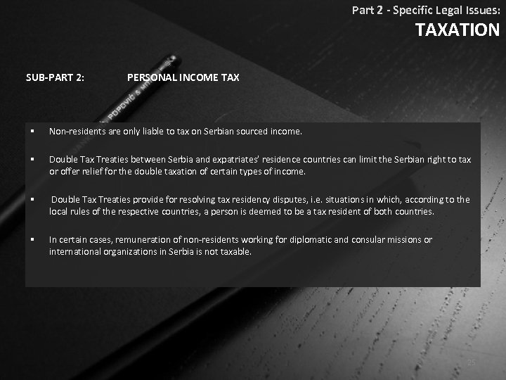 Part 2 - Specific Legal Issues: TAXATION SUB-PART 2: PERSONAL INCOME TAX § Non-residents