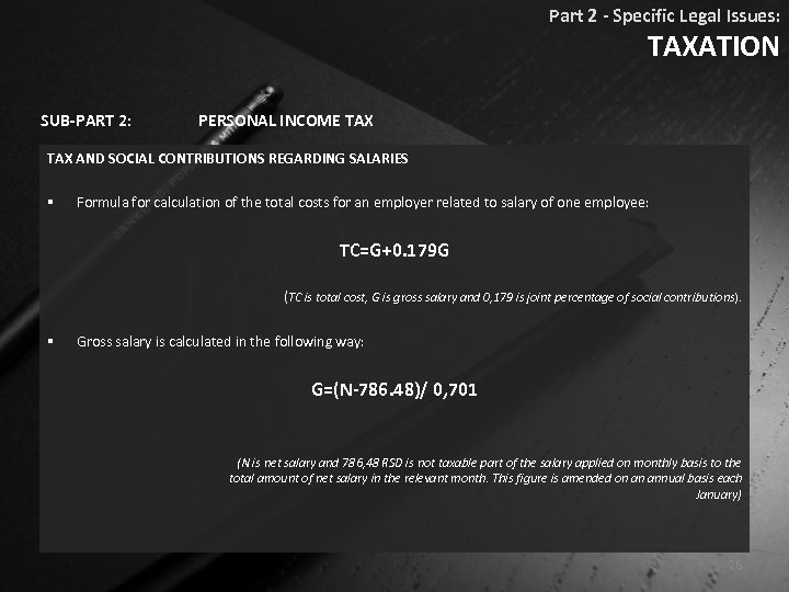 Part 2 - Specific Legal Issues: TAXATION SUB-PART 2: PERSONAL INCOME TAX AND SOCIAL