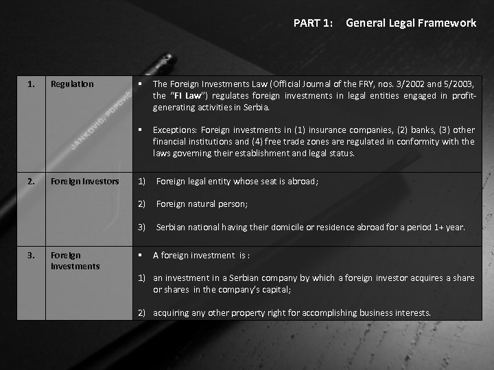 PART 1: 1. Regulation General Legal Framework § The Foreign Investments Law (Official Journal