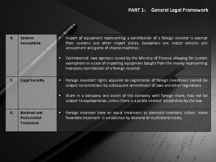 PART 1: 4. 6. National and Preferential Treatment Import of equipment representing a contribution