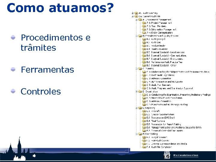 Como atuamos? Procedimentos e trâmites Ferramentas Controles 14