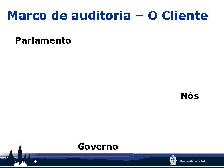 Marco de auditoria – O Cliente Parlamento Nós Governo 7