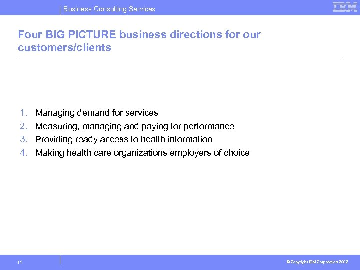 Business Consulting Services Four BIG PICTURE business directions for our customers/clients 1. 2. 3.