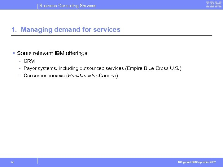 Business Consulting Services 1. Managing demand for services § Some relevant IBM offerings -