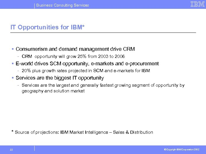 Business Consulting Services IT Opportunities for IBM* § Consumerism and demand management drive CRM