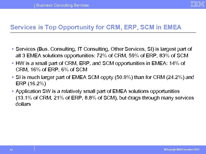 Business Consulting Services is Top Opportunity for CRM, ERP, SCM in EMEA § Services