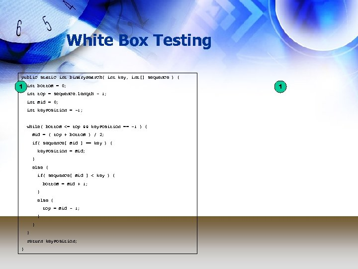White Box Testing public static int binary. Search( int key, int[] sequence ) {
