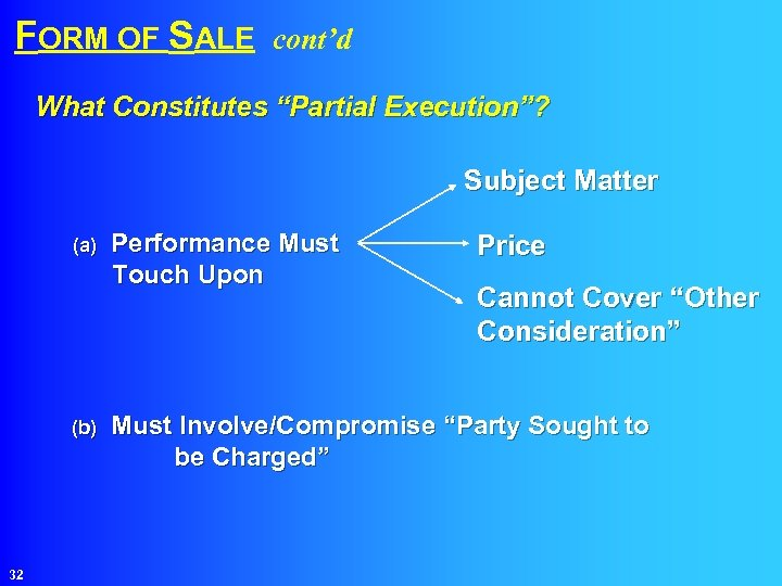 """FORM OF SALE cont'd What Constitutes """"Partial Execution""""? Subject Matter (a) Performance Must Touch"""