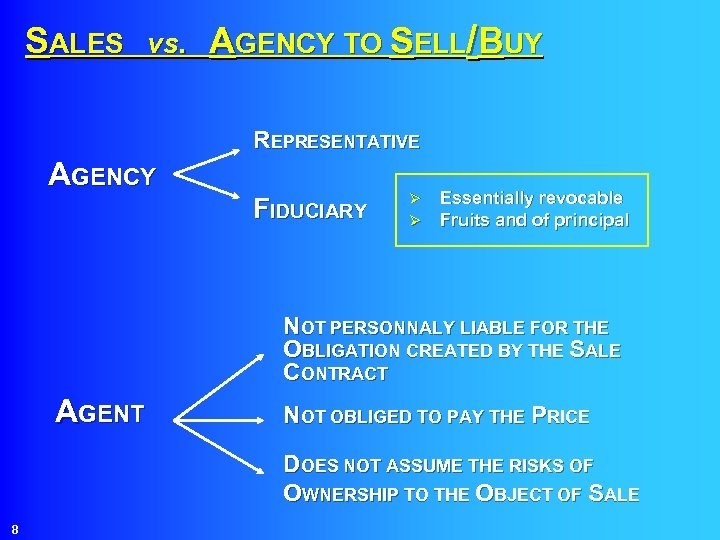 SALES vs. AGENCY TO SELL/BUY REPRESENTATIVE AGENCY FIDUCIARY Ø Ø Essentially revocable Fruits and