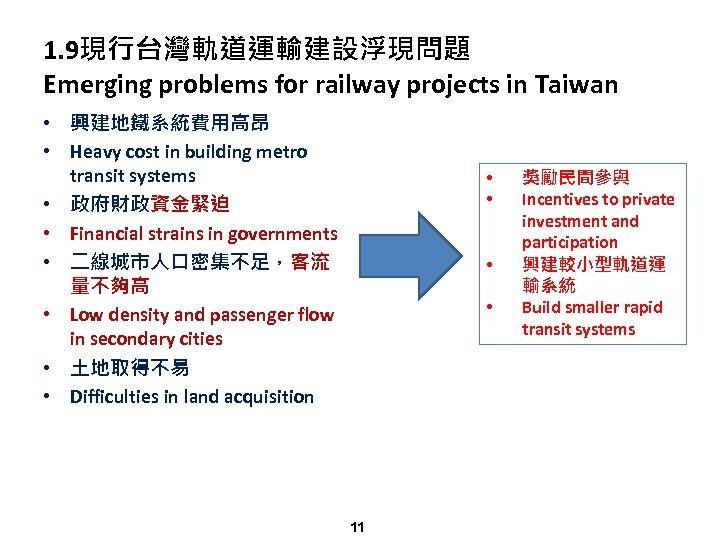 1. 9現行台灣軌道運輸建設浮現問題 Emerging problems for railway projects in Taiwan • 興建地鐵系統費用高昂 • Heavy cost