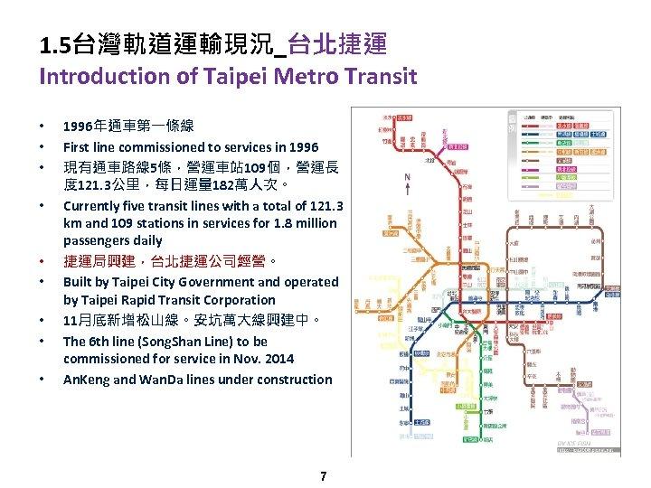 1. 5台灣軌道運輸現況_台北捷運 Introduction of Taipei Metro Transit • • • 1996年通車第一條線 First line commissioned