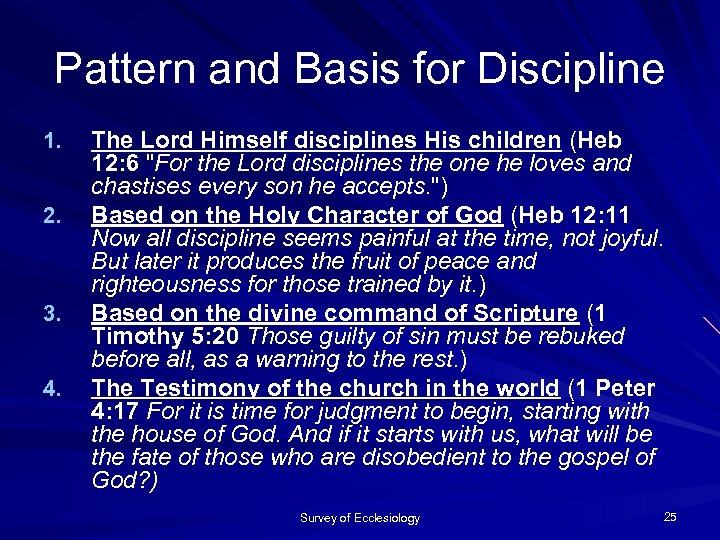 Pattern and Basis for Discipline 1. 2. 3. 4. The Lord Himself disciplines His