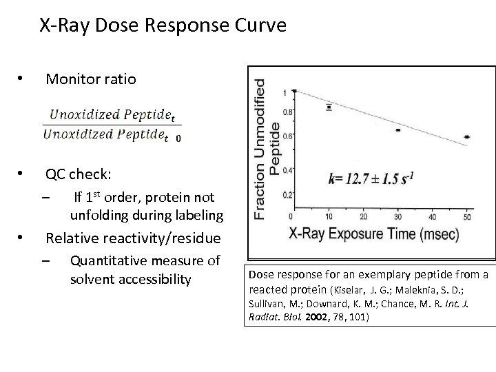 X-Ray Dose Response Curve • Monitor ratio • QC check: – • If 1