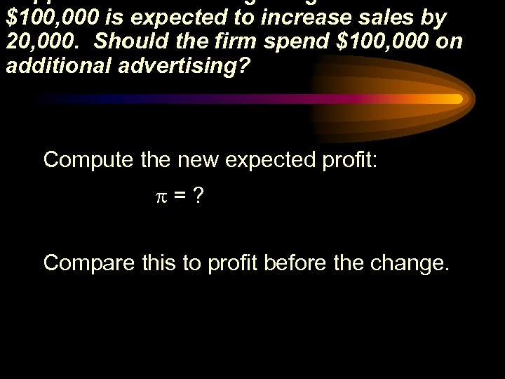 Suppose an advertising budget increase of $100, 000 is expected to increase sales by