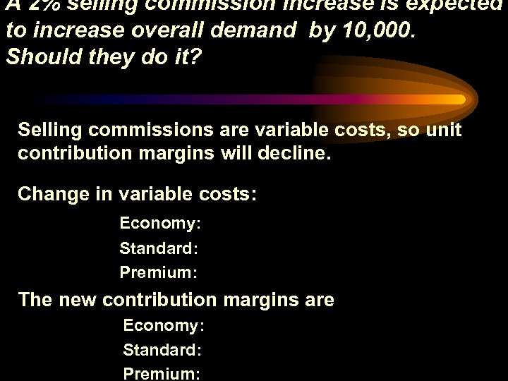 A 2% selling commission increase is expected to increase overall demand by 10, 000.