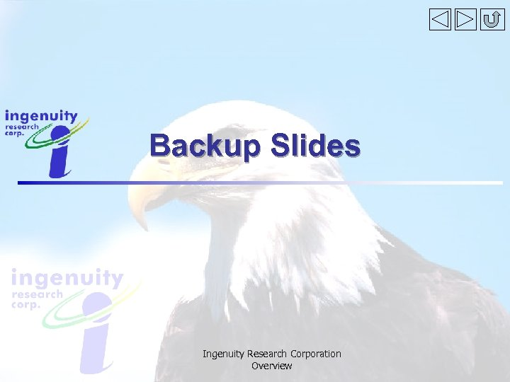 Backup Slides Ingenuity Research Corporation Overview
