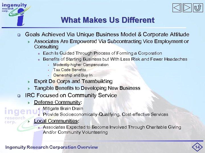 What Makes Us Different q Goals Achieved Via Unique Business Model & Corporate Attitude