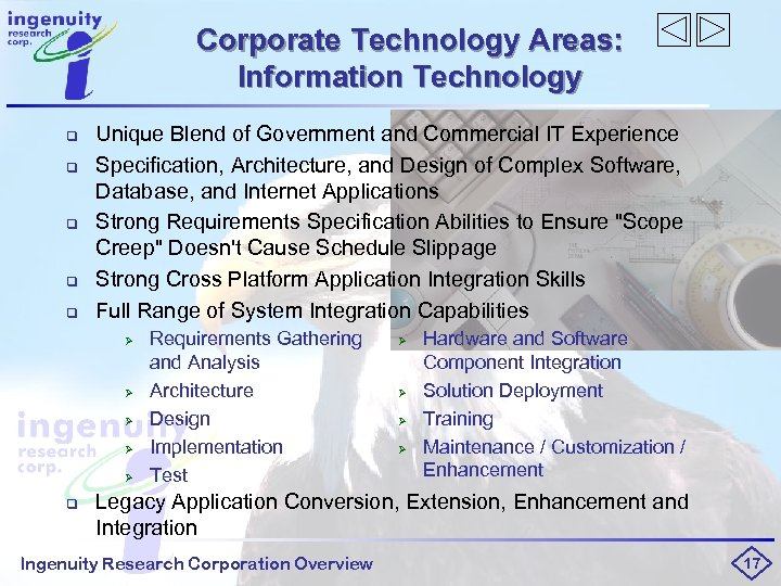 Corporate Technology Areas: Information Technology q q q Unique Blend of Government and Commercial