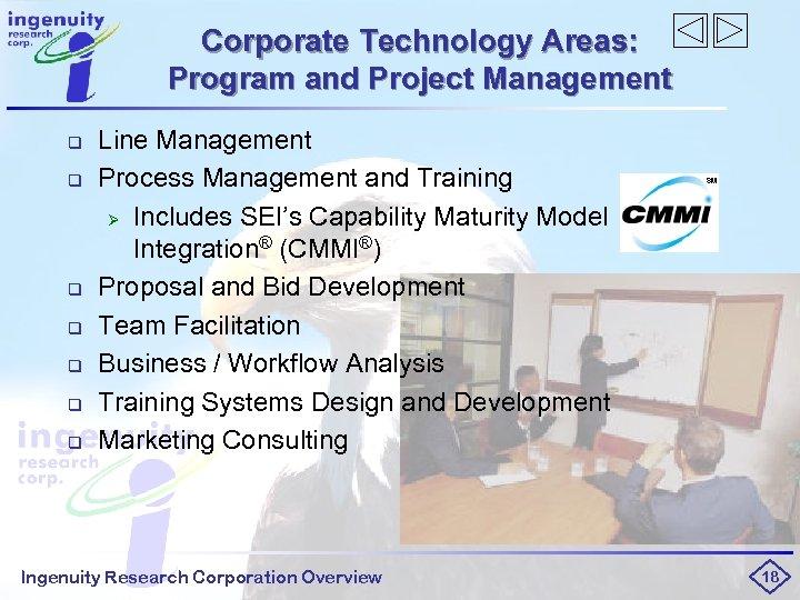 Corporate Technology Areas: Program and Project Management q q q q Line Management Process