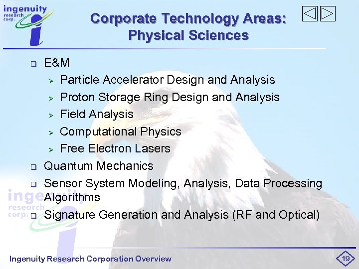 Corporate Technology Areas: Physical Sciences q q E&M Ø Particle Accelerator Design and Analysis
