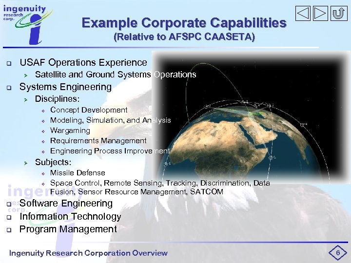 Example Corporate Capabilities (Relative to AFSPC CAASETA) q USAF Operations Experience Ø q Satellite
