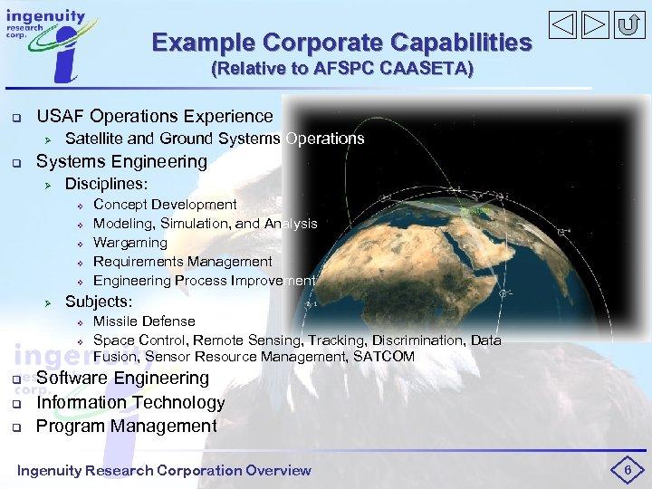 Example Corporate Capabilities (Relative to AFSPC CAASETA) q USAF Operations Experience Ø q Satellite