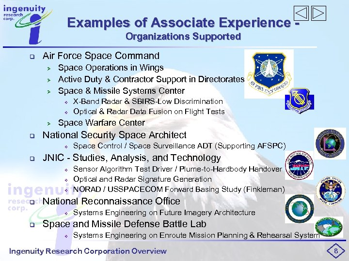 Examples of Associate Experience Organizations Supported q Air Force Space Command Ø Ø Ø