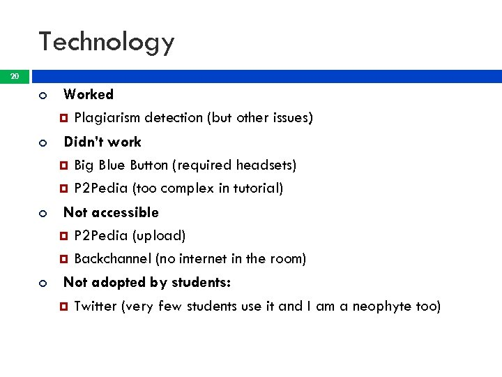 Technology 20 Worked Plagiarism detection (but other issues) Didn't work Big Blue Button (required