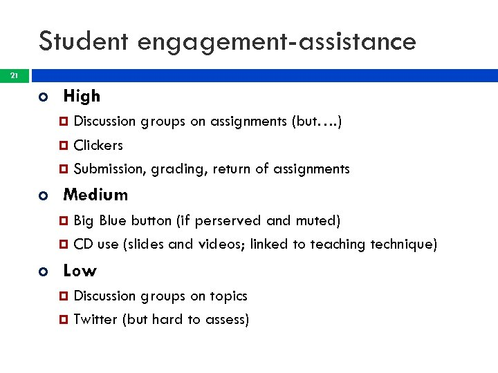 Student engagement-assistance 21 High Discussion groups on assignments (but…. ) Clickers Submission, grading, return