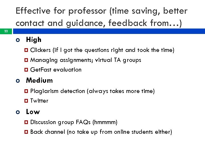 Effective for professor (time saving, better contact and guidance, feedback from…) 22 High Clickers