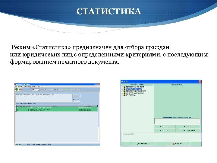 СТАТИСТИКА Режим «Статистика» предназначен для отбора граждан или юридических лиц с определенными критериями, с