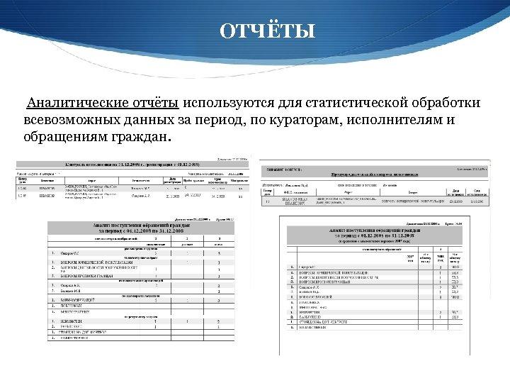 ОТЧЁТЫ Аналитические отчёты используются для статистической обработки всевозможных данных за период, по кураторам, исполнителям