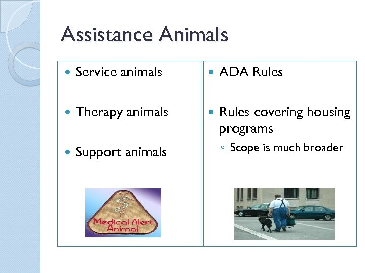 Assistance Animals Service animals ADA Rules Therapy animals Rules covering housing programs Support animals